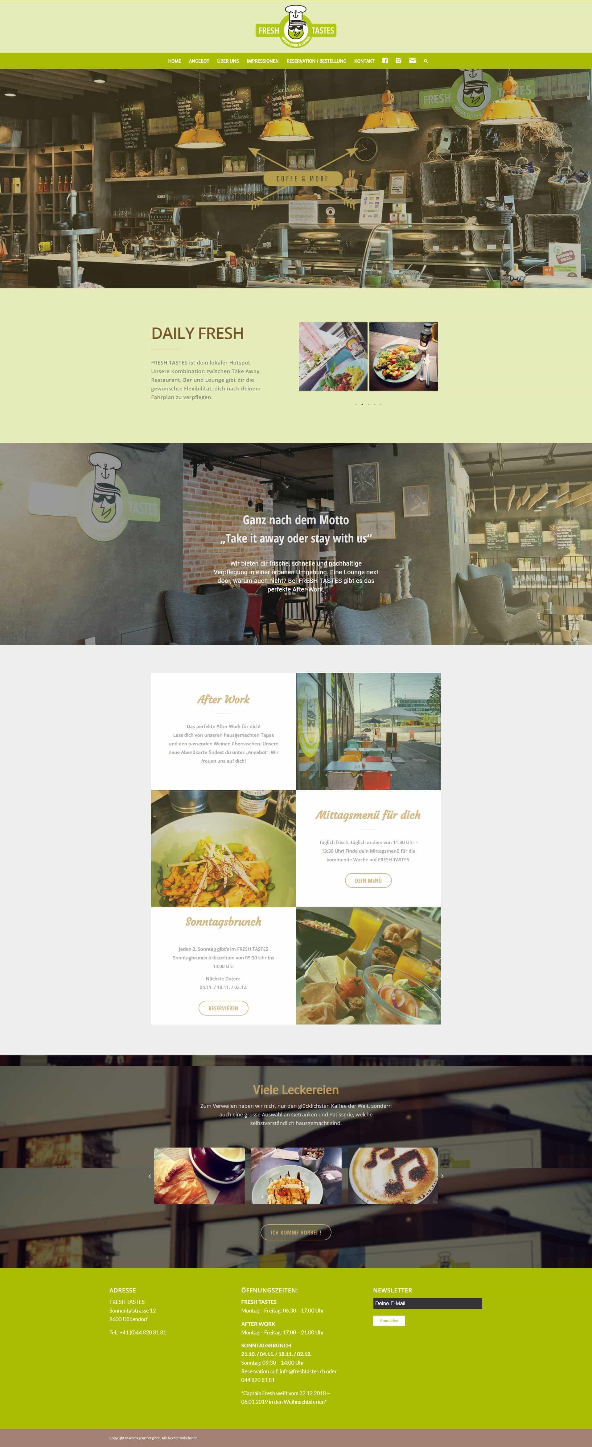 Webseite Portfolio Café & Bar Startup