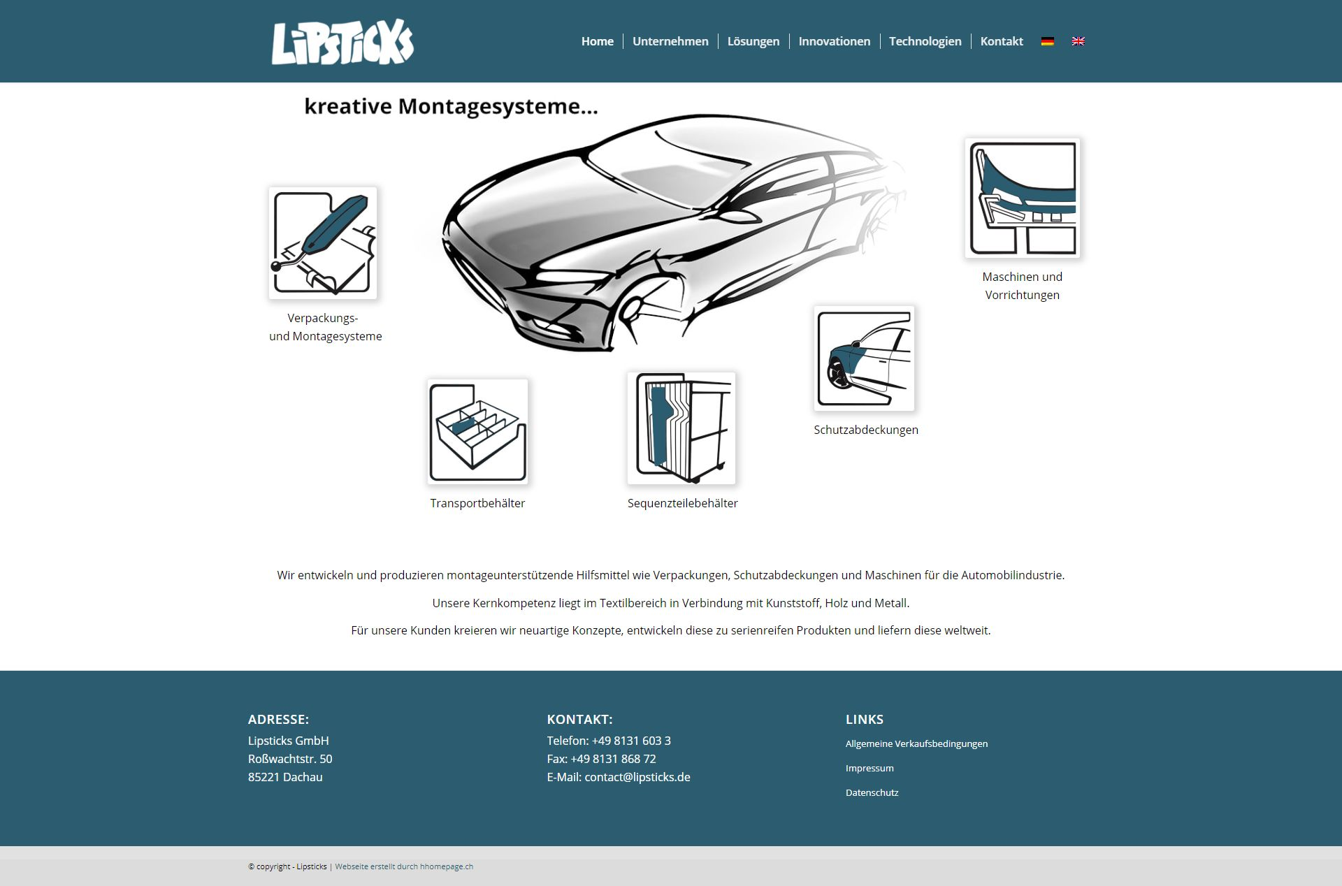 Webseite Projekt Montagesysteme