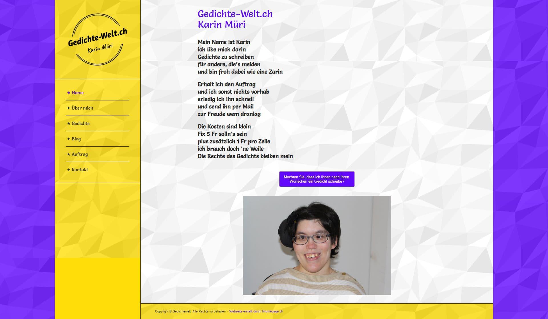Webseite Portfolio Gedichte