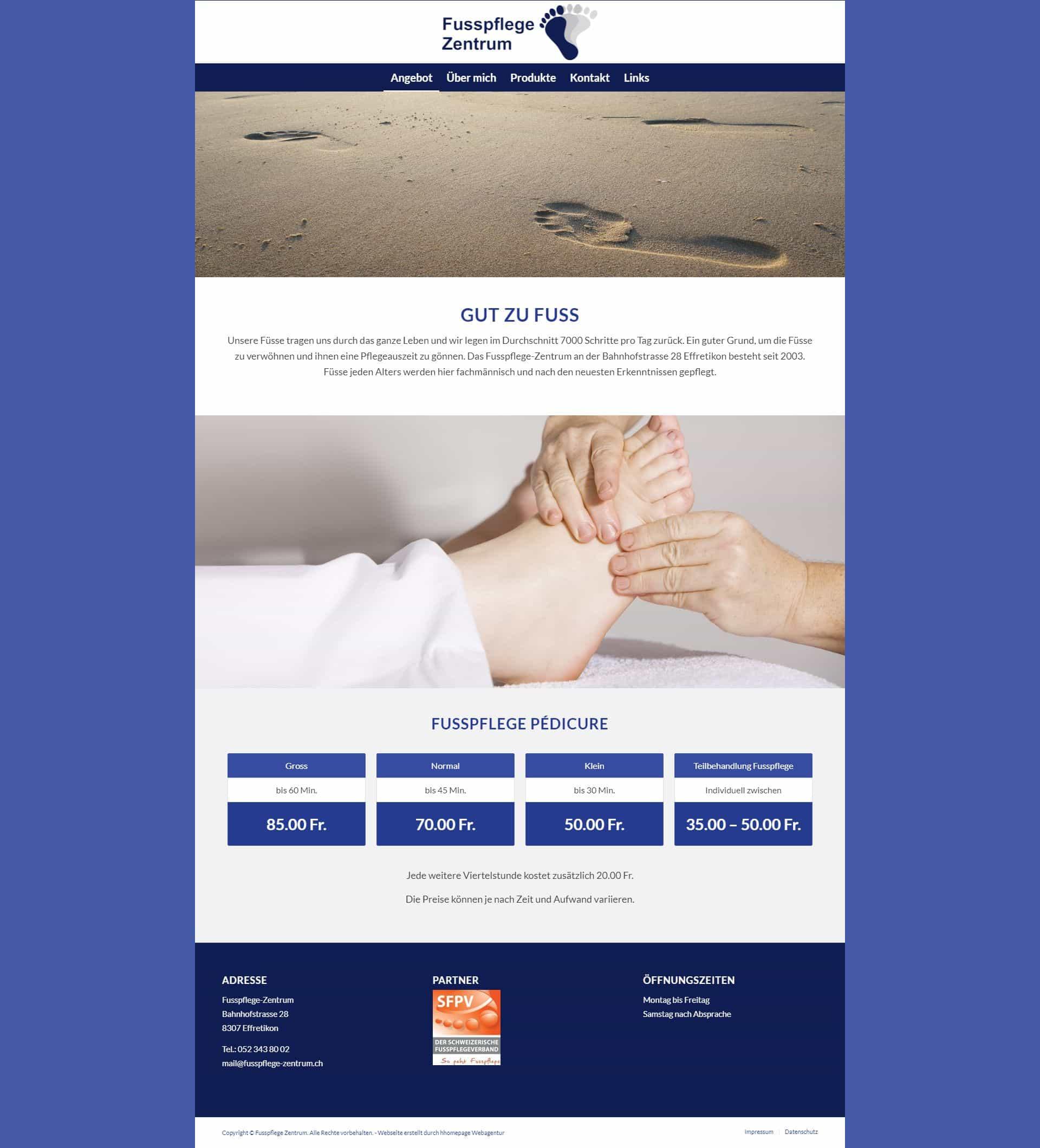 Webseite Portfolio Fusspfleger