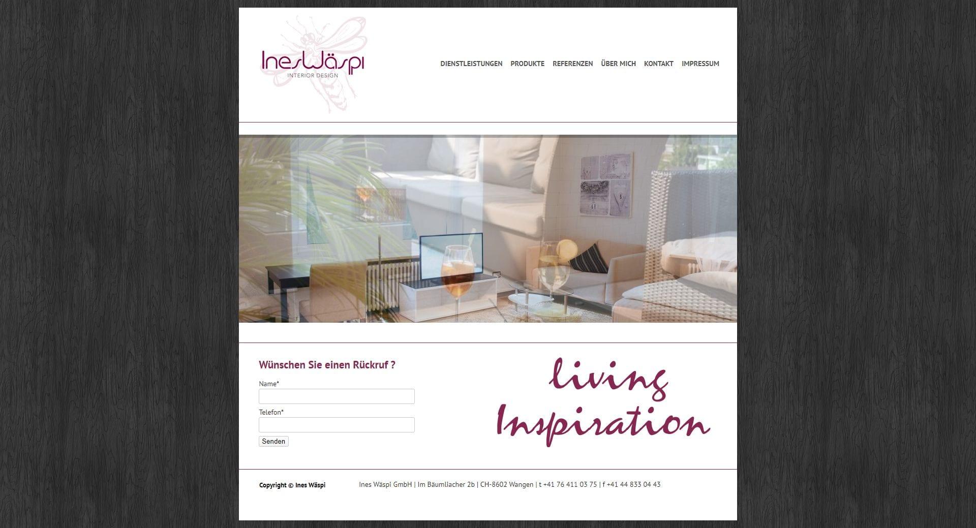 Webseite Projekt Interior Design small