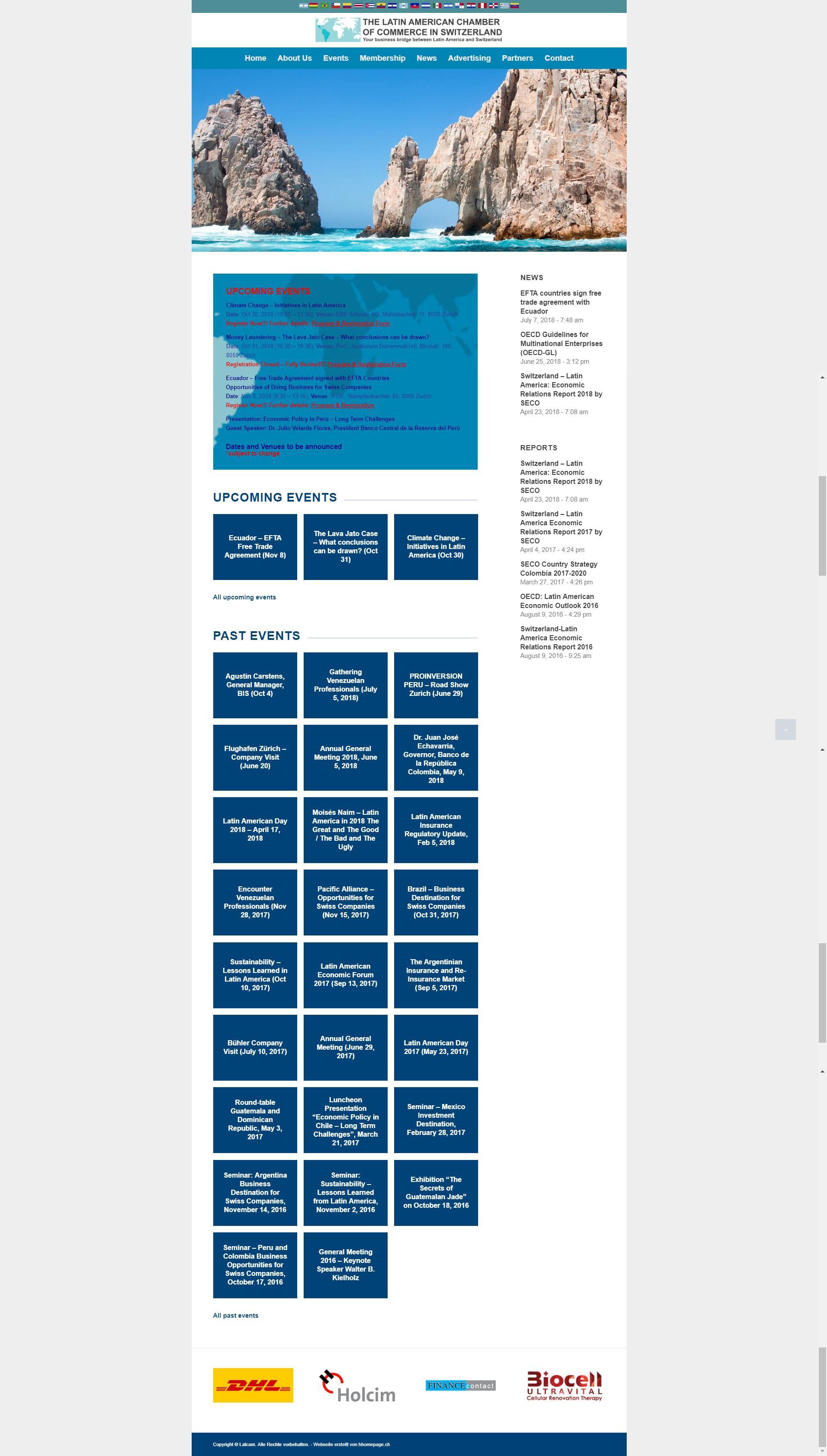 Webseite Referenz Lateinamerikanische Handelskammer in der Schweiz
