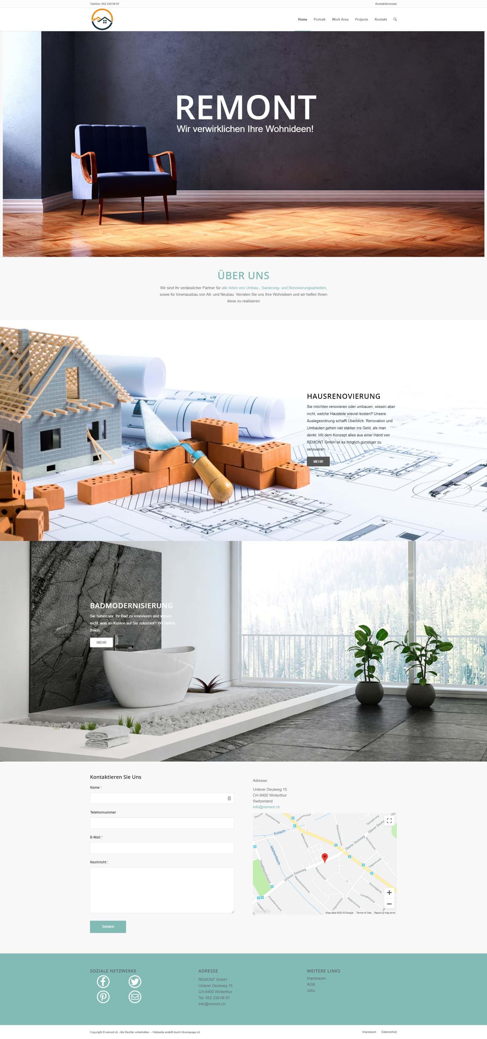 Webseite Portfolio Badrenovierung