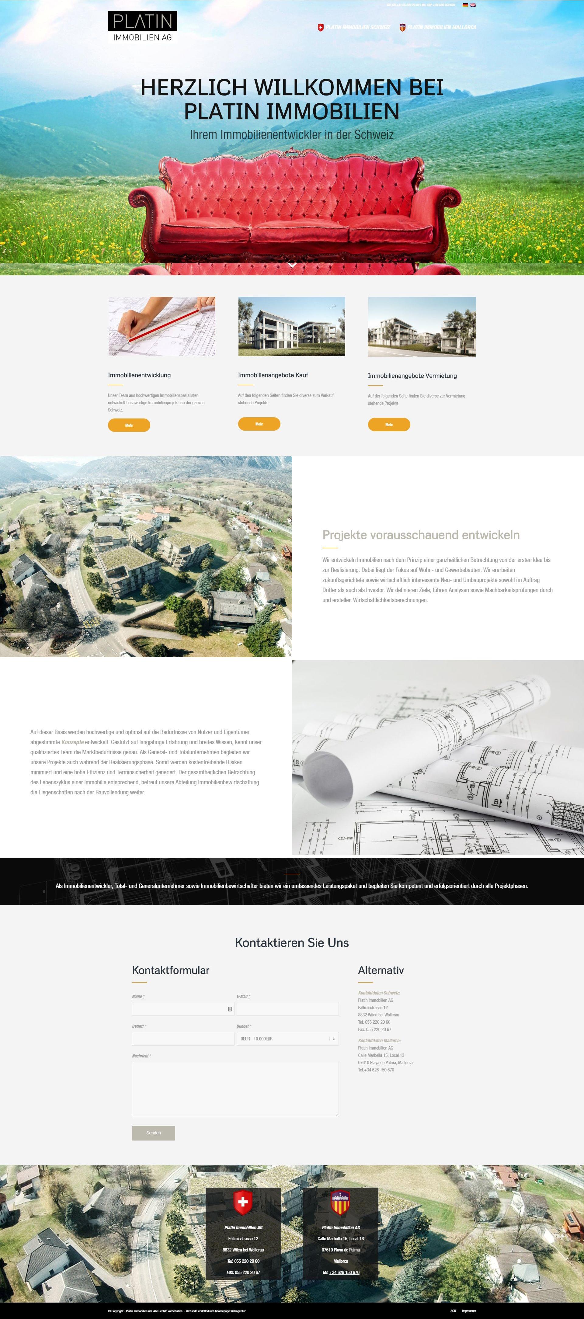 Moderne Webseite erstellen für Immobilien Portale in der Schweiz