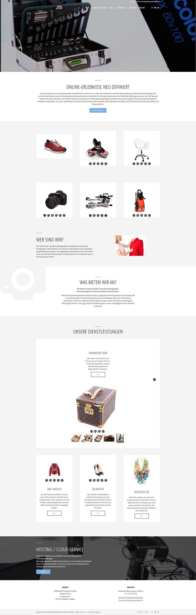 Webseite Referenz Produktphotographie