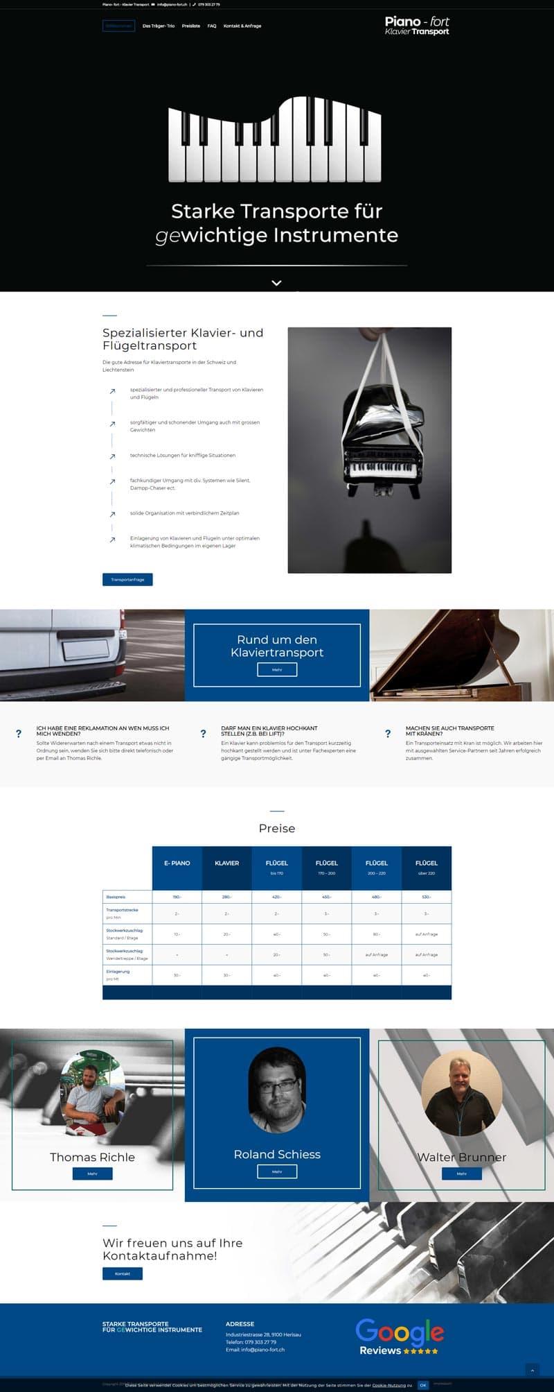 Webseite Referenz Klaviertransportservice