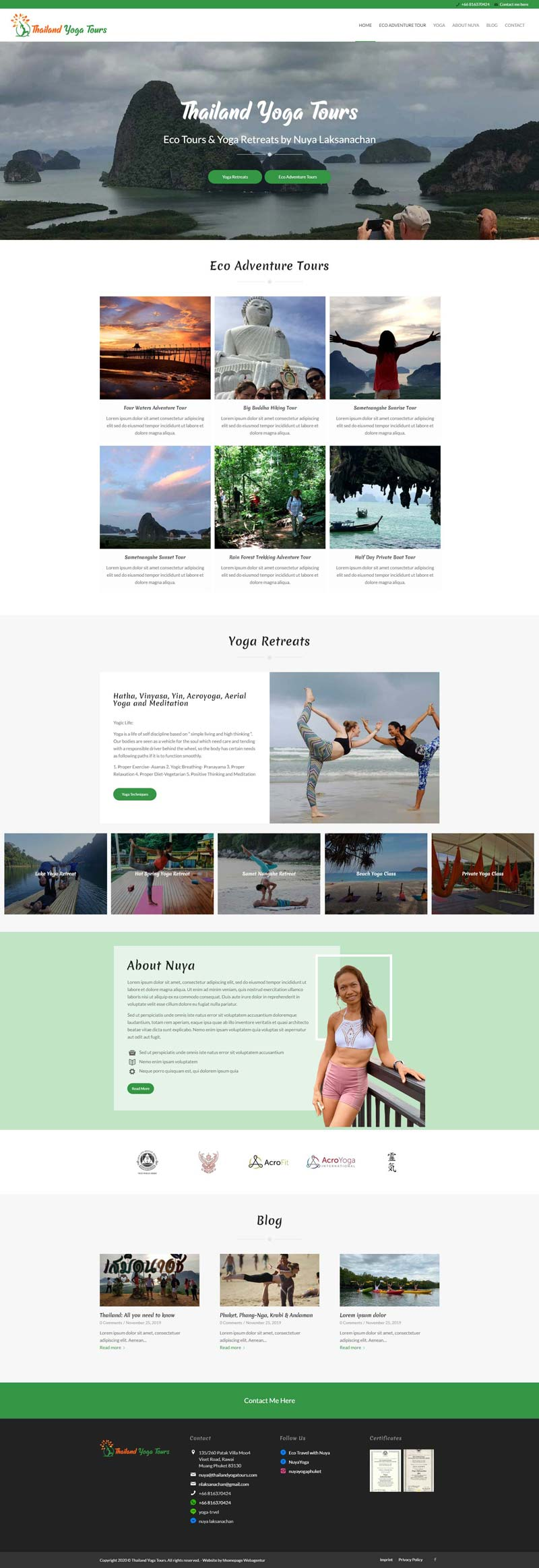 Webseiten-Projekt Yogatouren